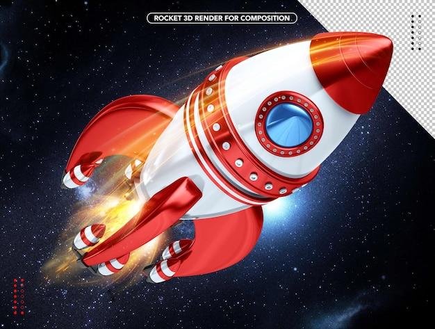 머리 위로 날아가는 흰색과 빨간색 현실적인 3d 로켓
