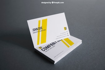 White and yellow business card mockup