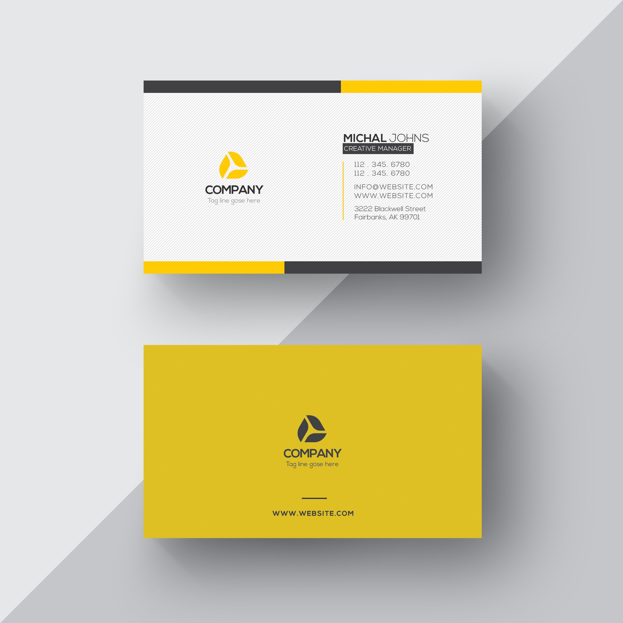 White and yellow business card