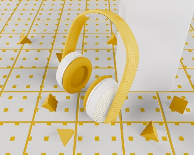 白と黄色のミニマルなヘッドフォンワイヤレス