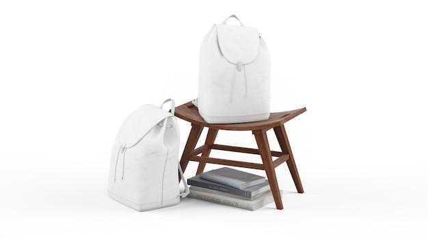 의자에 흰색 배낭과 책