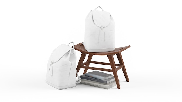 White backpacks and books on chair