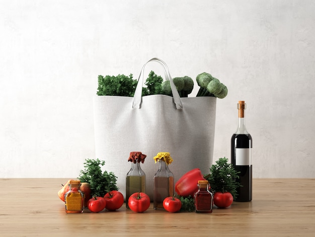 White bag with ingredients