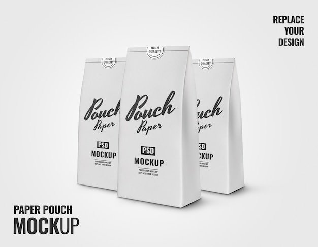 White bakery paper pouch mockup 3d rendering