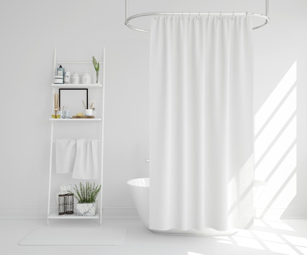 White bathtub with curtain and shelf