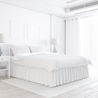 White bedroom mockup with decorative elements