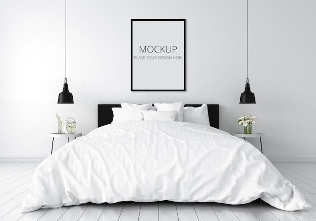 White bedroom with frame mockup