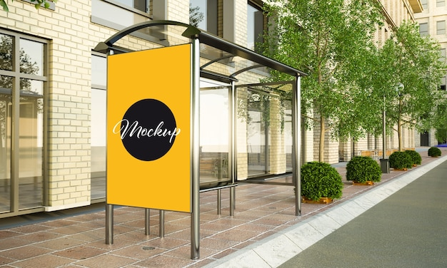 White billboard mockup on bus stop 3d rendering
