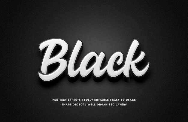 White black 3d text style effect