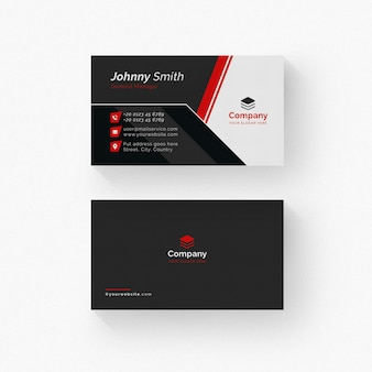 White and black business card with red details