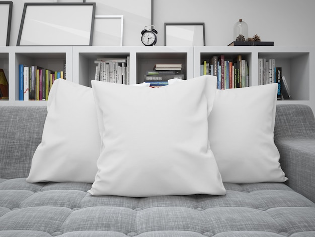 White blank cushions mockup on a sofa