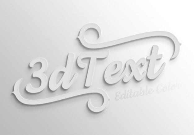 White bold 3d text effect mockup