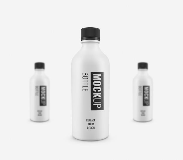 Белая бутылка рекламный макет реалистично