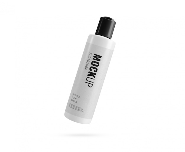 White bottle with black lid mockup