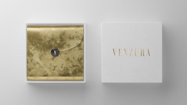 브랜드 아이덴티티 3d 렌더링을위한 흰색 상자 로고 모형