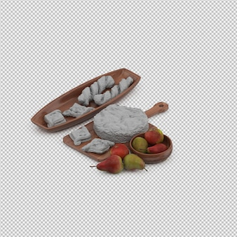 White bread and pears 3d render