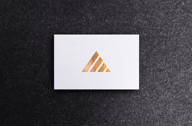 White business card mock up with golden and silver foil embossing and debossing effect, premium psd