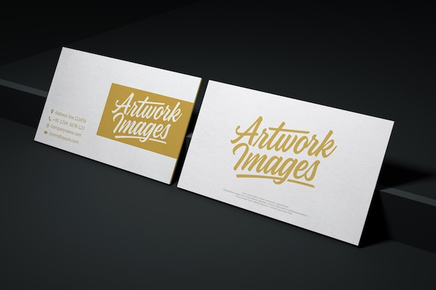 White business card mockup with logotype