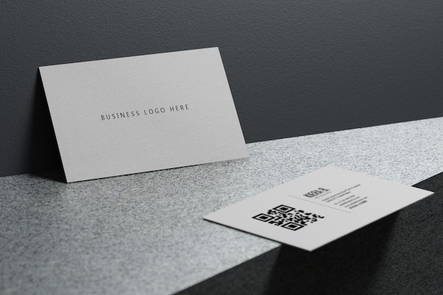 White business card paper mockup template with blank space cover