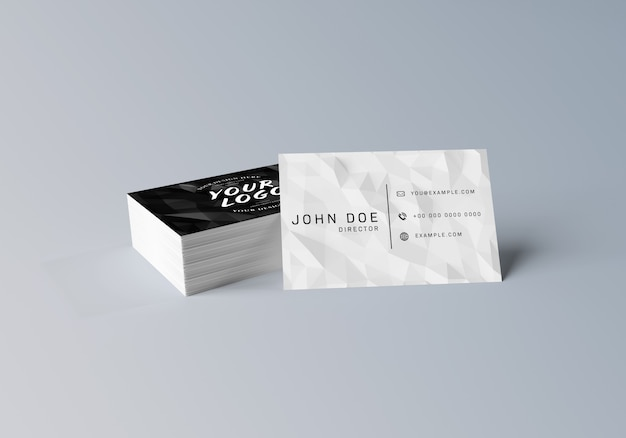 White business card stack on grey surface