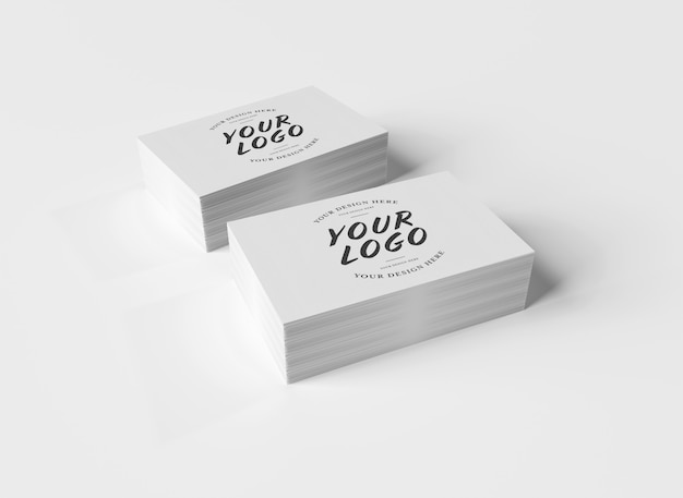White business card stack on white surface
