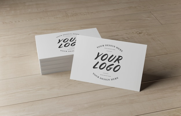 White business card stack on wooden surface