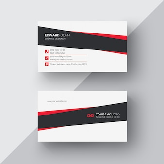 White business card with black and red details