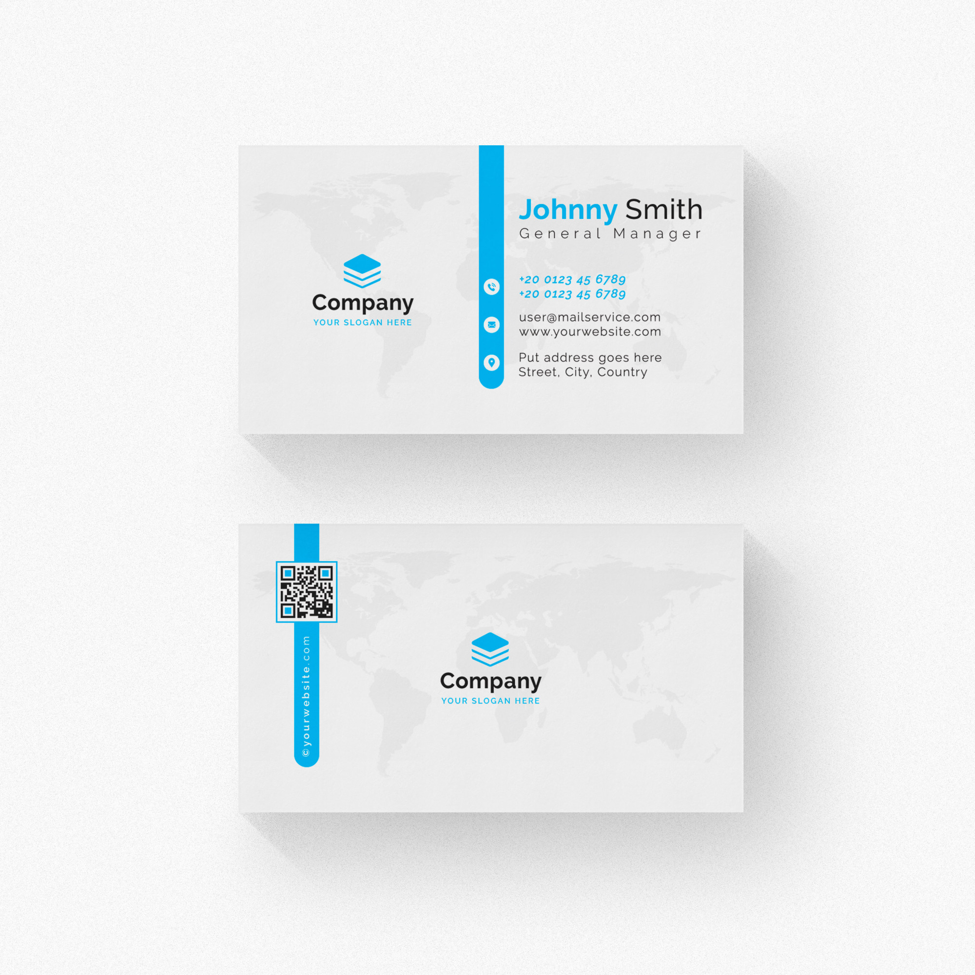 White business card with blue details