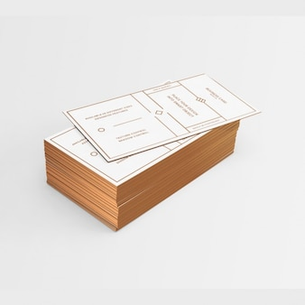White business card with golden elements and edges