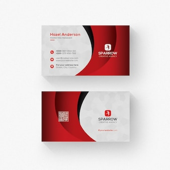 White business card with red details template
