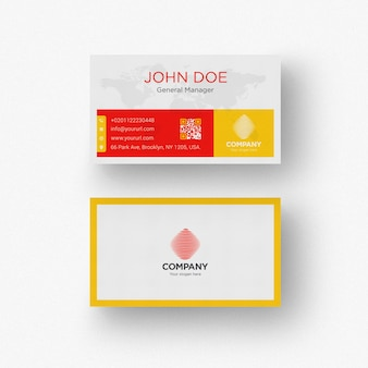 White business card with yellow and red details