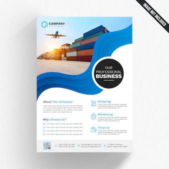 White business flyer with blue details