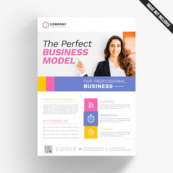 White business flyer with colorful details