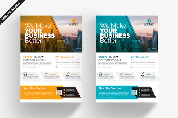 White business flyer with orange and blue details