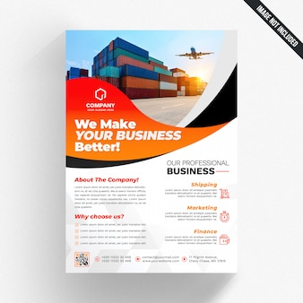 White business flyer with orange details
