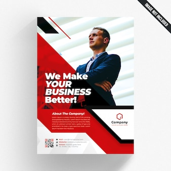 White business flyer with red details