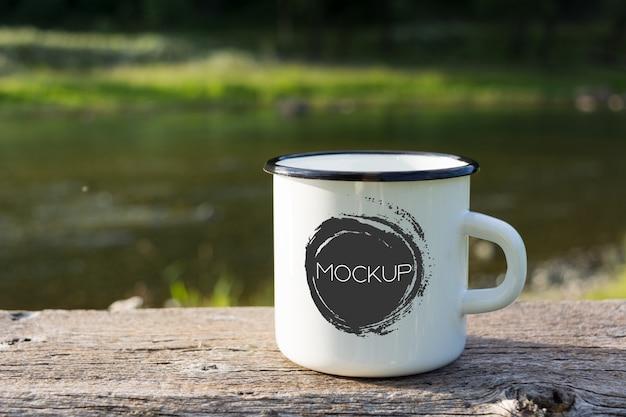 White campfire enamel mug mockup