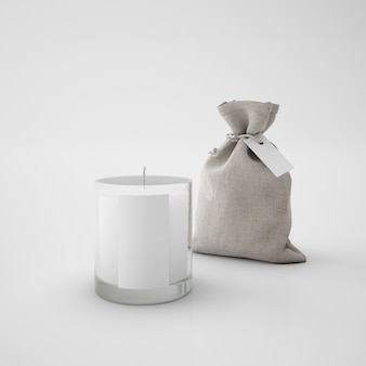 White candle and brown sack
