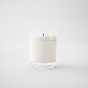White candle in a glass