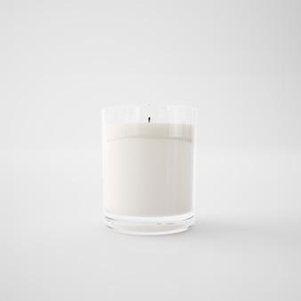 Candela bianca in un bicchiere