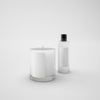 White candle and perfume bottle