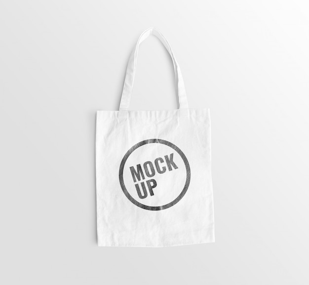 White canvas bag on floor mockup realistic