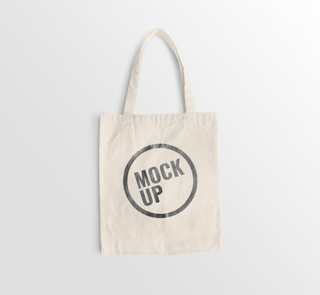 White canvas bag mockup realistic