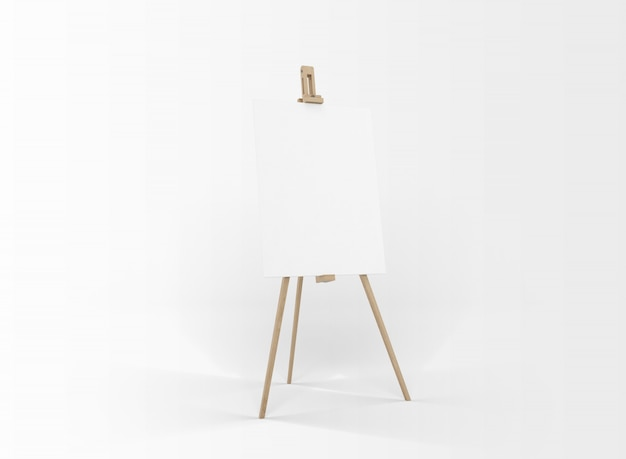 White canvas on a easel