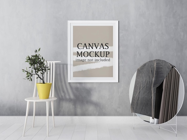 White canvas frame mockup beside circle mirror
