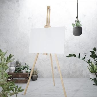 이젤에 흰색 캔버스