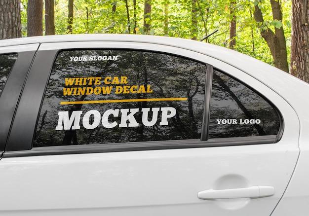 흰색 자동차 창 데칼 이랑