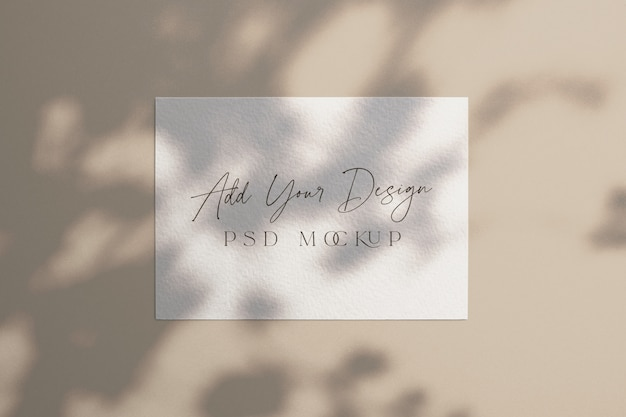 White card mockup shadow overlay under tree