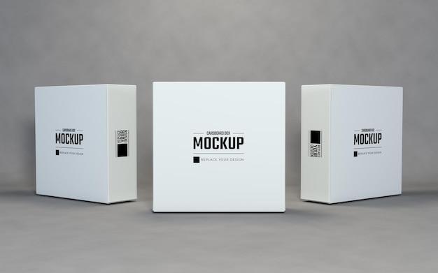 白い段ボール箱は包装のモックアップを表示します