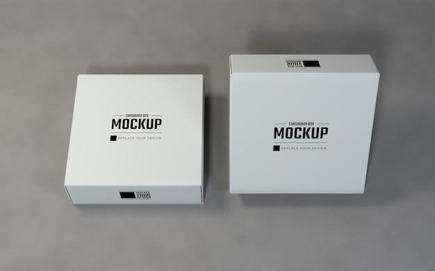 製品ディスプレイ用の白い段ボール箱のモックアップデザイン